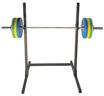 Kräft Steel Squat Stand and RAW Bar with Armor Colored Bumper Package