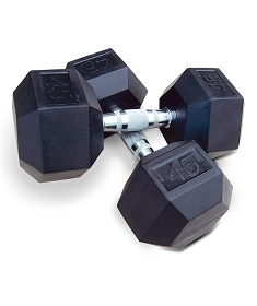 Rubber Hexagon Dumbbells